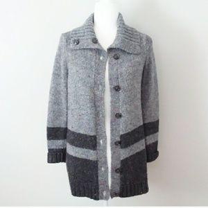 Talbots Grey Tweed Button Down Wool Cardigan